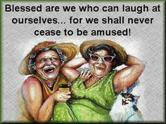 Blessed are we who can laugh at ourselves, for we shall never cease to be amused!