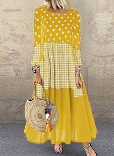 Color Block Tunic Round Neckline Maxi Shift, Dress - Yellow / S Cheap Maxi Dresses, Casual Dresses, Womens Fashion Online, Latest Fashion For Women, Floryday Vestidos, Elisa Cavaletti, Buy Dress, Women's Fashion Dresses, Ideias Fashion