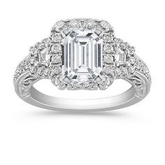 Halo Vintage Baguette and Round Diamond Engagement Ring with Pavé Setting