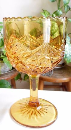 Vintage Heavy Amber Pressed Glass Spooner Celery Compote Footed Hobstars #Unknown
