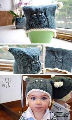 An OWL hat (Tuto inside) - The Ju district - Knitting For Kids, Baby Knitting, Crochet Wool, Crochet Hats, Baby Polo, Owl Hat, Couture Sewing, Knitted Gloves, Knit Patterns