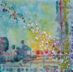 "Beneath the Surface  Encaustic  16"" x 16""  Peg Bachenheimer Local Chapel Hill artist."