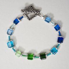 Blue Green Crystal Cube Bracelet by ZDesignsJewelry on Etsy, $24.00