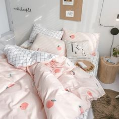 Harajuku Plaid Peach Bedding Set Notice:The bedding set only have quilt cover,bed sheet and pillow case Bed sheet Quiltcover Pillowcase Bed sheet Quiltcover Pillow Room Ideas Bedroom, Bedroom Wall, Bedroom Decor, Master Bedroom, Design Bedroom, Girls Bedroom, Master Suite, Cute Room Ideas, Cute Room Decor