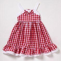 Red & white gingham dress.