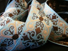"""Crafters Vision - Vintage Light Turquoise Brown Woven Jacquard 1 1/2"""" Ribbon, $1.65 (http://www.craftersvision.com/vintage-light-turquoise-brown-woven-jacquard-1-1-2-ribbon/)"""