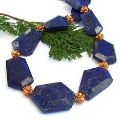 The chunky My Blue Heaven statement necklace features flat faceted lapis lazuli nuggets and copper beads - one of a kind jewelry for women. Handmade Statement Necklace, Gemstone Necklace, Statement Jewelry, Bold Jewelry, Beaded Jewelry, Women Jewelry, Jewelry Ideas, Jewellery, Handmade Bracelets