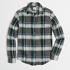 Factory slim plaid flannel shirt