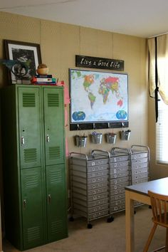 Homeschool room.  I want a few of those rolling carts with shallow drawers - paper and supplies would go in there just great!