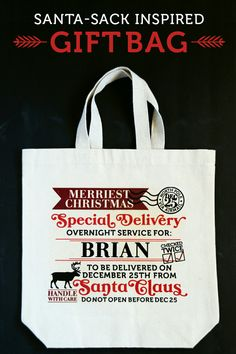 Great iron on decals for Santa Sacks, small  http://blog.darice.com/holiday/winter/christmas/diy-santa-sack-gift-bag/