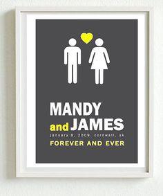 personalised wedding print by i love design   notonthehighstreet.com