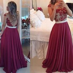AM167 Burgundy Lace Appliques Long Charming Prom Gowns, Empire Evening Dresses  $174.00