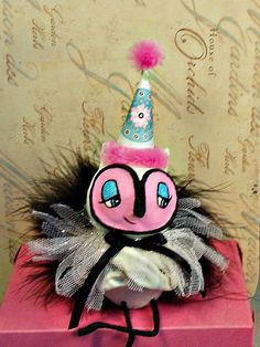 Owl ooak art doll Party decor shabby chic by sugarcookiedolls