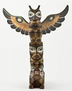 Indian Totem Pole Ceramic Handpainted Brooch Pin Totem Bight Nat Park Alaska New Special Summer Sale Native American: Us