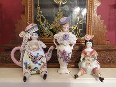 Trio of mini assemblage art dolls by Shenna Shepard. - Trio of mini assemblage art dolls by Shenna Shepard. Found Object Art, Half Dolls, Junk Art, Creepy Dolls, Doll Parts, Assemblage Art, Recycled Art, Repurposed, Doll Head