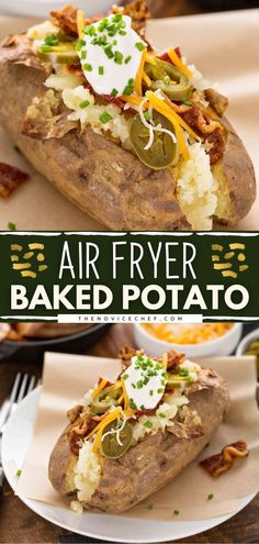 This quick and easy air fryer recipe makes the perfect baked potatoes every time! Thanks to all the best tips and tricks, they come out soft and fluffy inside with crispy and salty skin. Serve with toppings of your choice for a lunch idea or as a side dish for dinner! Best Baked Potato, Air Fryer Baked Potato, Perfect Baked Potato, Baked Potato Recipes, Beef Recipes, Healthy Recipes, Easy Recipes, Side Dishes Easy, Side Dish Recipes