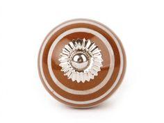 Keramikknauf - Möbelknopf Streifen braun/weiß