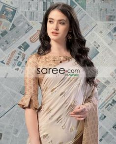 Beige Checks Blouse with Pleated Sleeves Design - Blouse designs Indian Blouse Designs, Saree Jacket Designs, Saree Blouse Neck Designs, Fancy Blouse Designs, Bridal Blouse Designs, Latest Blouse Designs, Saree Blouse Patterns, Saris, Blouse Designs Catalogue