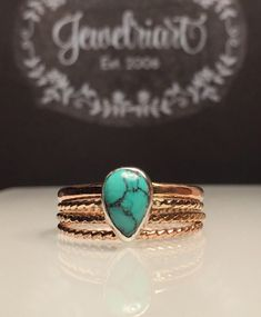 A personal favorite from my Etsy shop https://www.etsy.com/listing/505054966/rose-gold-turquoise-ring-stackskinny