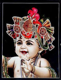 Baby Krishna - Hindu Posters (Reprint On Card Paper - Unframed) Yashoda Krishna, Iskcon Krishna, Krishna Hindu, Krishna Statue, Radha Krishna Images, Lord Krishna Images, Hanuman, Sri Krishna Photos, Durga