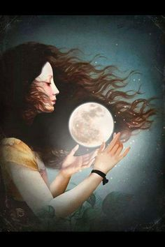 Selene (Luna) - Titan goddess of the Moon; daughter of the Titans Hyperion and Theia, and sister of the sun - god Helios and Eos, goddess of the dawn