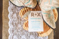 Country Glam Barn Wedding Invitation and Cowboy Boots Lace and Burlap