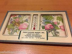 Vintage Advertising Picture W/ Thermometer 1960's Pictures of Flowers