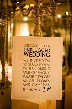 "What do you think? An ""unplugged"" wedding ceremony. Make sure everyone is fully present! Wedding Trends, Wedding Tips, Wedding Details, Our Wedding, Destination Wedding, Dream Wedding, Wedding Stuff, Sunset Wedding, Church Wedding"