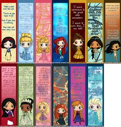 Disney Princess Bookmarks - Disney Princess Chibi Bookmarks - Elsa, Anna, Ariel, Cinderella, Rapunzel, Belle, Aurora, Jasmine, Tiana & More