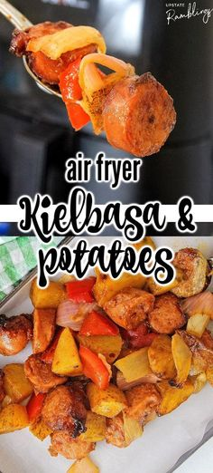 Air fryer kielbasa and potatoes is a one pot meal cooked entirely in the air fryer! Kielbasa is cooked with potatoes, onions, peppers and barbecue sauce for flavorful comfort food dinner that you can have on the table in about 30 minutes. Vegetarian Lunch, Vegetarian Dinners, Sausage Recipes, Meat Recipes, Healthy Recipes, Delicious Recipes, Kielbasa And Potatoes, Best Instant Pot Recipe, Real Food Recipes