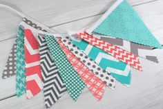 Banner Bunting, Photo Prop, Fabric Flags, Baby Shower, Birthday - Coral Pink, Teal Blue, Turquoise and Gray Chevron Dots