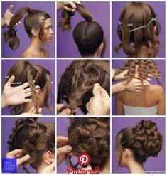 braids - Big Braided Bun for Special Occasions Chikk net Fancy Hairstyles, Girl Hairstyles, Braided Hairstyles, Wedding Hairstyles, Peinado Updo, Hair Arrange, Pinterest Hair, Hair Dos, Hair Hacks