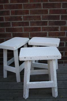 """YOUR Custom Rustic and Recycled Painted Oak Barn Wood Bar Stool or Chair With a Rectangle 18"""" - 23"""" Seat. $75.00, via Etsy."""