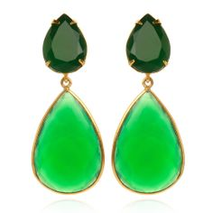 Faceted Green Onyx Earrings with Removable Drops