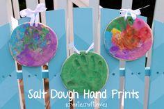 Salt Dough Hand Prints for Father's Day via createcraftlove.com #fathersday #giftideas #kidscrafts