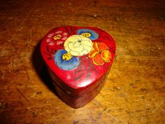 Vintage Pill Trinket Box Heart Shaped Floral  Lacquered Red