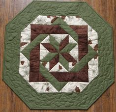 Fall Quilted Table Topper, Brown Green Pine Cones Quilt, Earth Tone Quilt…