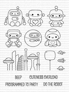 This is a inch clear stamp set. Approximate Measurments: Round Robot - inches Square Head Robot with heart - x inches Kawaii Drawings, Doodle Drawings, Easy Drawings, Doodle Art, Note Doodles, Simple Doodles, Griffonnages Kawaii, Robots Drawing, Animal Doodles