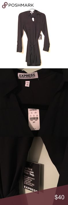 BRAND NEW Express portofino shirt dress Black portofino shirt dress from Express. New with tags. 2 breast pockets, collar, buttons, waist strap, completely lined. Hits below knee for office friendly attire. Impulse buy, I don't see myself getting enough use out of it. They don't sell this exact style anymore so I don't think it would be worth returning. Express Dresses Long Sleeve