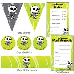 free green & black Halloween printable party