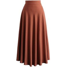 Chicwish Flowing Wool-blend Full Skirt in Tan ($42) ❤ liked on Polyvore featuring skirts, brown, knee length pleated skirt, wool blend skirt, full skirt, pleated skirt and brown pleated skirt