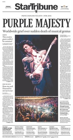 As with the recent death of David Bowie, front pages devoted to Prince can be found particularly in the U.S., Canada and Europe.