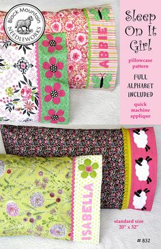 """NOTE: This is a PDF pattern that will be emailed to you instantly. If you prefer to have a printed pattern shipped to you, shop for """"Sleep On It Girl printed pattern"""" instead. Standard size pillow case - x Full alphabet included. Sewing Hacks, Sewing Tutorials, Sewing Crafts, Sewing Tips, Sewing Ideas, Sewing Patterns Free, Quilt Patterns, Pillow Patterns, Fun Patterns"""