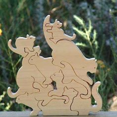 Wood Cat Puzzle - Interlocking - Wooden Puzzle -Cats - Kittens - READY to SHIP