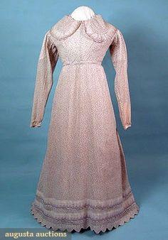 PRINTED DIMITY DAY DRESS, 1820s        Lot: 502      March/April 2005 Vintage Clothing & Textile Auction