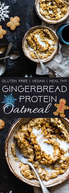 Gingerbread Protein Oatmeal - This quick and easy, high protein oatmeal tastes like waking up and eating a gingersnap cookie! It's a healthy, gluten free breakfast for kids and adults and it's ready in only 10 minutes!   Foodfaithfitness.com   @FoodFaithFit  