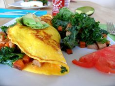 Sunday Omelet with Smoked Turkey, Sweet Potato & Kale