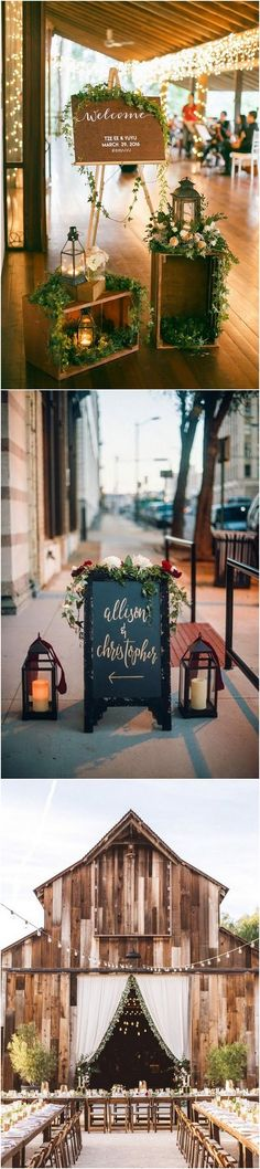 chic chalkboard sign and lanterns wedding reception entrance decoration ideas