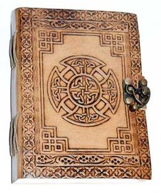 Celtic Designs, Cross Designs, Celtic Tree, Leather Books, Leather Journal, Book Of Shadows, Celtic Knot, Leather Tooling, Wiccan