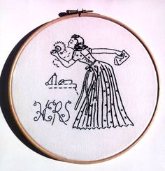 Black Hers Sign Embroidery Hoop Art by RedWorkStitches on Etsy